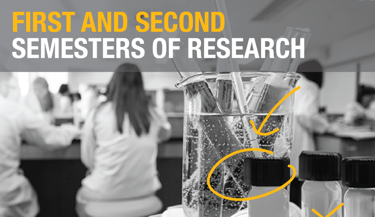 """First and Second Semesters of Research""; Background image of beaker with pipettes."